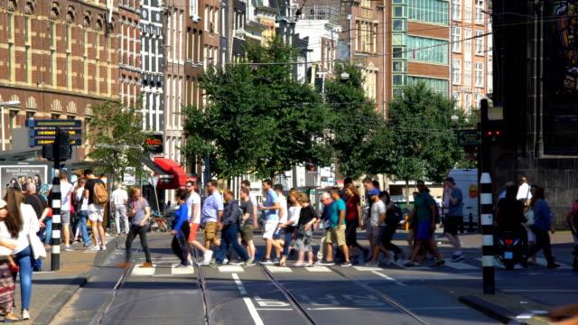 Amsterdam street with pedestrians video