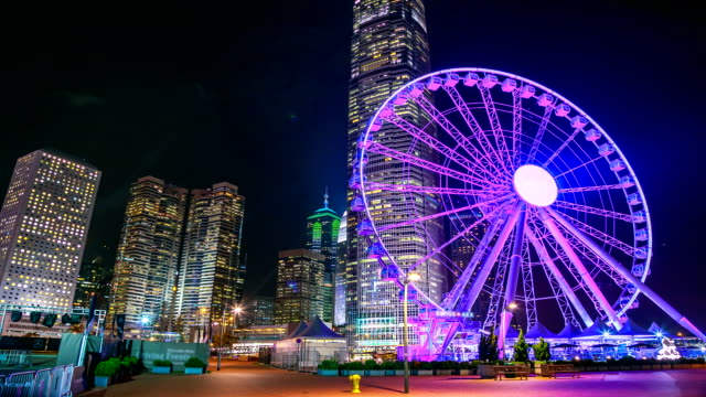 Amusement Park In City At Night video