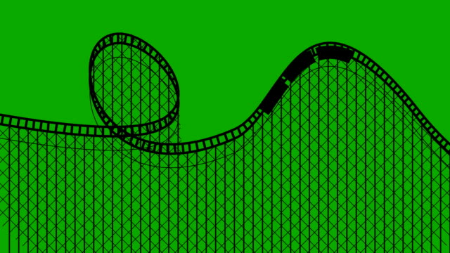amusement park roller coaster on a green screen seamless looping - roller coaster stock videos & royalty-free footage