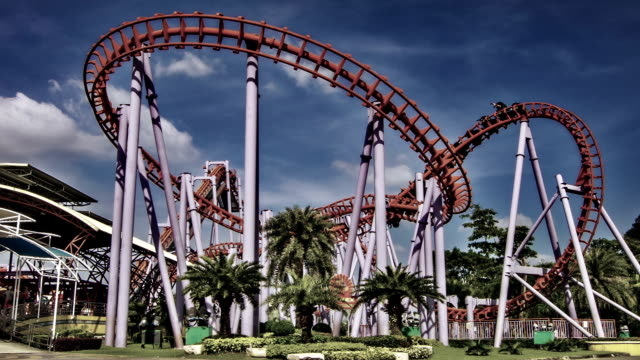 amusement park - roller coaster stock videos & royalty-free footage