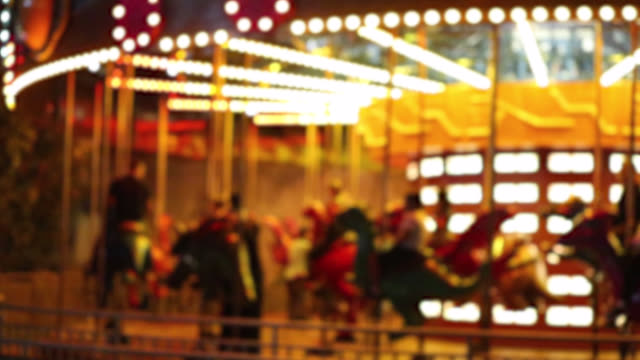 Amusement rides at night background