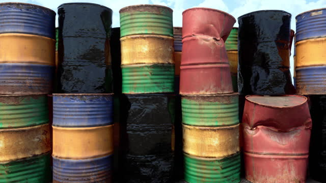 An abstract concept highlighting the excess supply of oil barrels not needed in a global oil glut of oversupply