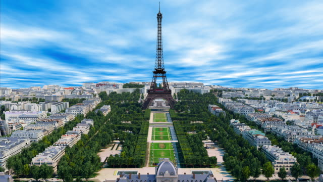 An aerial time lapse of the Eiffel Tower and the city of Paris in France An aerial time lapse of the Eiffel Tower and the city of Paris in France. bastille day stock videos & royalty-free footage
