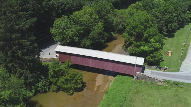 An Aerial View of a Covered or Kissing Bridge in the Pennsylvania Dutch Country or Amish Country