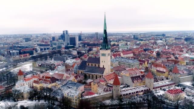 ein luftbild der altstadt von tallin estland - kiefernwäldchen stock-videos und b-roll-filmmaterial