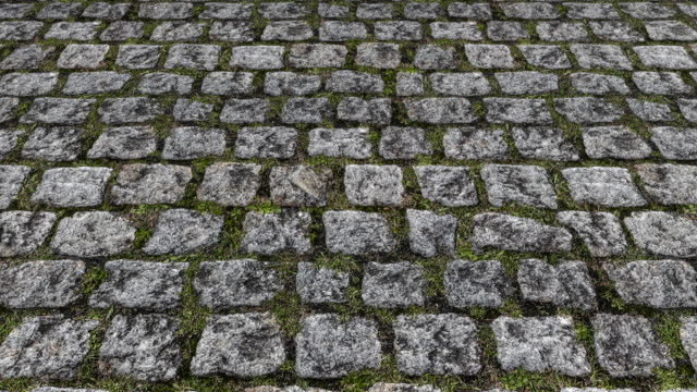 An aerial view over old natural stone cobbles with grass and weeds in-between the joints - seamless looping