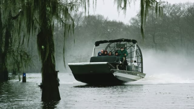 An Airboat Tour in the Atchafalaya River Basin Swamp in Southern Louisiana Under an Overcast Sky