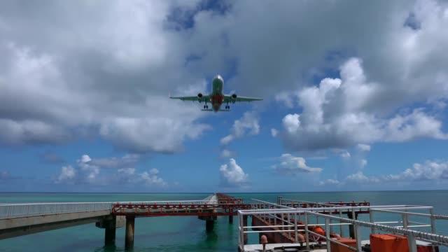 An aircraft landing at Runway 17 of Miyako Shimojishima Airport, Okinawa, Japan video