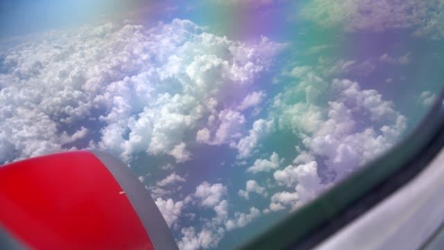 an airplane window stock video