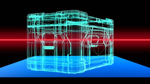 vídeos y material grabado en eventos de stock de un escáner de seguridad 3d del aeropuerto que realiza un escaneo de 360 grados de un contenedor industrial - bucle sin fisuras - escáner plano