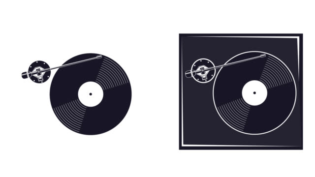 An animation of a gramophone