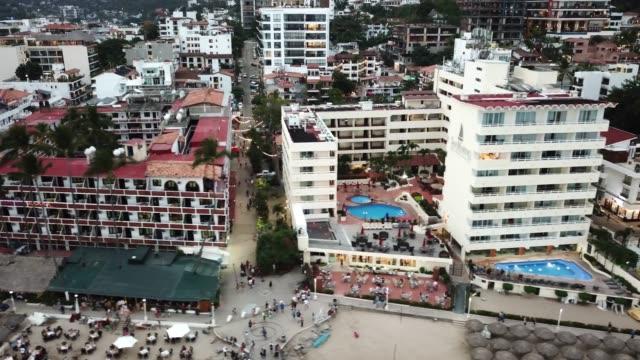 An Areal View Of El Malecon Boardwalk, Los Muertos Pier And City Of Puerto Vallarta, Mexico
