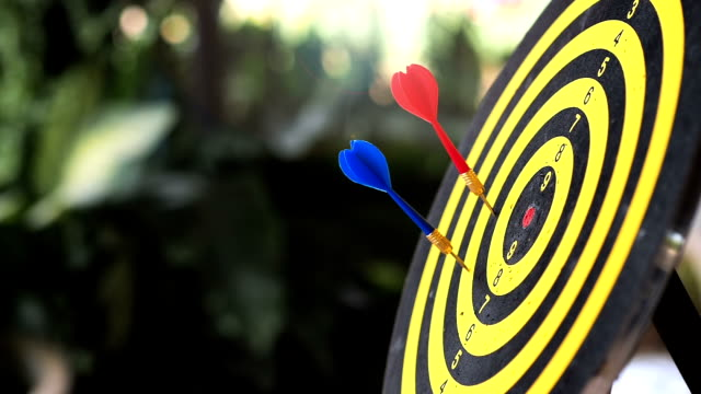 An arrow does not directly run to the goal, slow motion.  Business solution concept. retry until it is successful