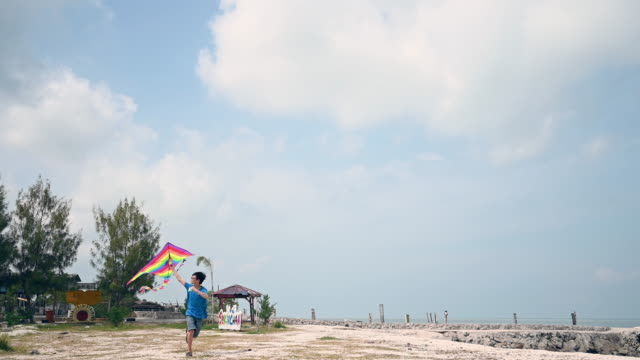 an asian chinese boy playing and flying kite at beach