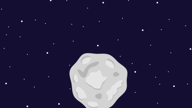 asteroida leci w kosmosie. asteroida rozbija się o ziemię - jowisz filmów i materiałów b-roll