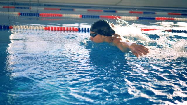 vídeos de stock e filmes b-roll de an athlete swims on a pool lane, close up. - swim arms