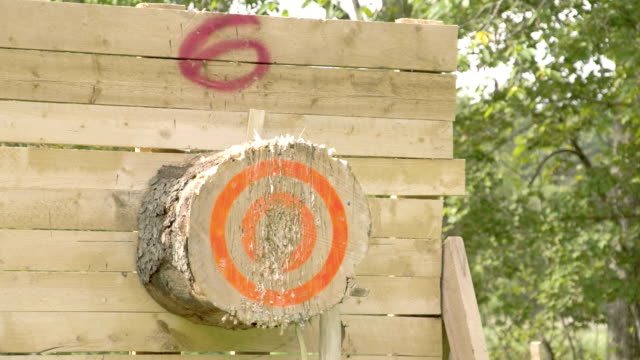 An axe throwing contest happening video