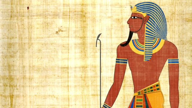 An Egyptian Pharaoh On A Papyrus Background video