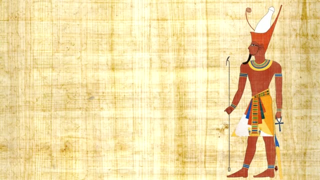 An Egyptian Pharaoh With Double Crown On A Papyrus Background video