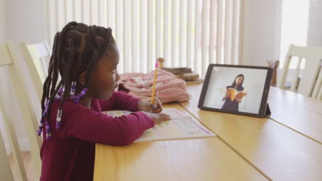 stockvideo's en b-roll-footage met een basisschoolstudent die thuis werkt - online leren