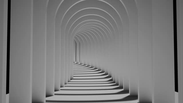 An endless black-and-white tunnel of side-by-side arches Abstract background of an endless black-and-white tunnel of side-by-side arches black and white architecture stock videos & royalty-free footage