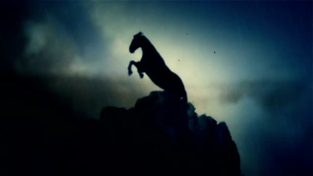 an epic stallion horse standing on a cliff under a lightning storm in slow motion - лошадиные стоковые видео и кадры b-roll
