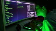 istock An evil hacker typing green code in darkness on multiple screens. 1204797075