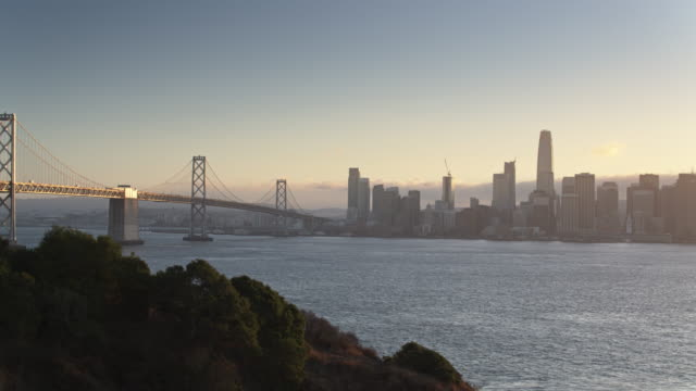 an Francisco and the Bay Bridge at Sunset - Drone Flight from Yerba Buena Island video