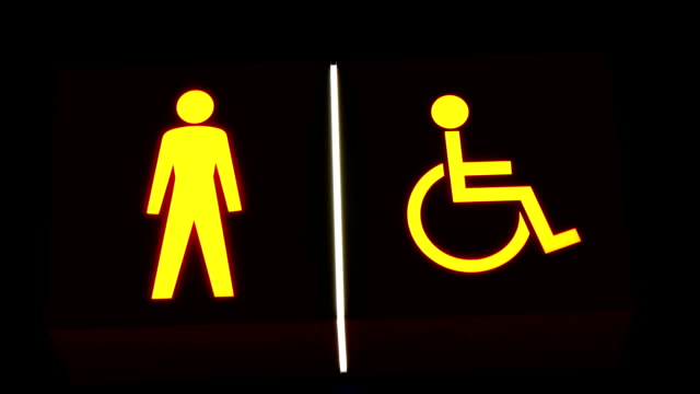 An image of a stick man and a symbol of disabled man video