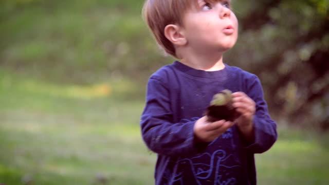 Un inocente young child holding de hacer algo y lo que es en slomo - vídeo