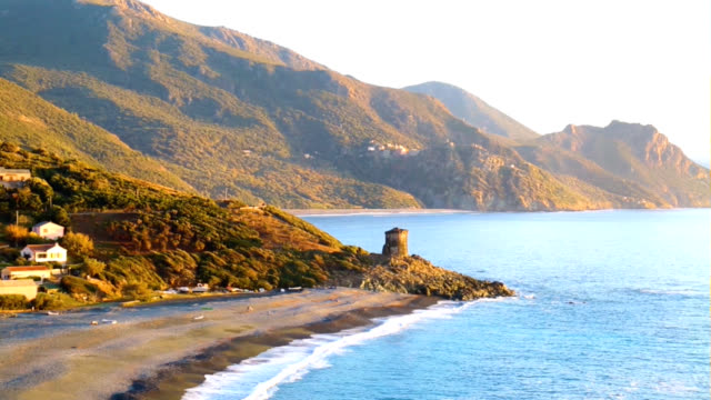 An old tower on a sea beach on the Corsica Island in France video