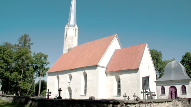 An old white church from a small town in Viake-Maarja FS700 Odyssey 7Q 4K video