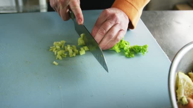 an older caucasian woman slices celery on a cutting board with a kitchen knife in a commercial kitchen - sedano video stock e b–roll
