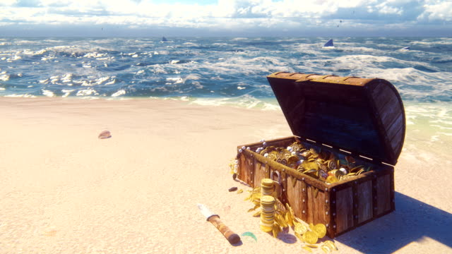 An open wooden pirate chest filled with gold coins and diamonds lies on the shore of a lost tropical island. Beautiful loop background.