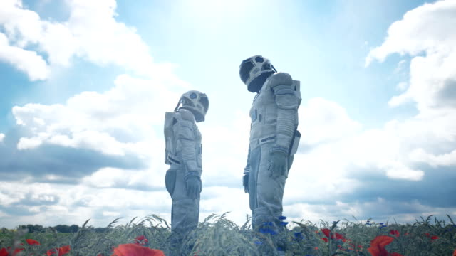 An unexpected meeting of two astronauts in love on a green planet. Animation for fantasy, science fiction, or space backgrounds.