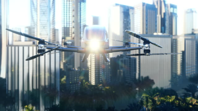An unmanned passenger drone has flown in to pick up its passenger on a cloudy day. Unmanned air taxi. 3D rendering of animation.