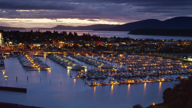 Anacortes Marina Lit Up at Twilight - Aerial