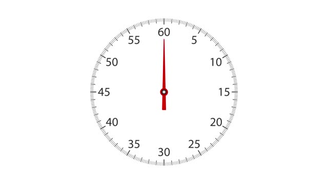 Analog clock face with a rotating red pointer. Forward counting sequence from 0 to 60 seconds.