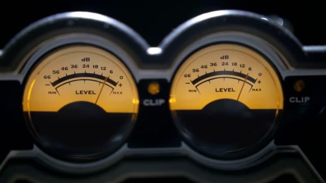 Analog reel to reel VU meters video