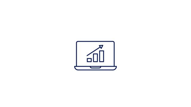 vídeos de stock, filmes e b-roll de análise animação do ícone da linha de dados. gráfico de movimento 4k com canal alfa. - clip art