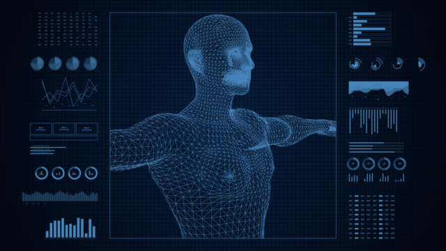 Analysis of human anatomy. Body scan on futuristic medical interface showing infographics data and statistics. Digital display of medicine and healthcare research.