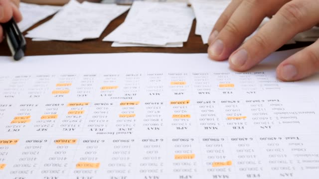Analyze Family Budget at Home Analyze family budget. Financial account document and paper notes. Orange marker pen on desk at home debt stock videos & royalty-free footage