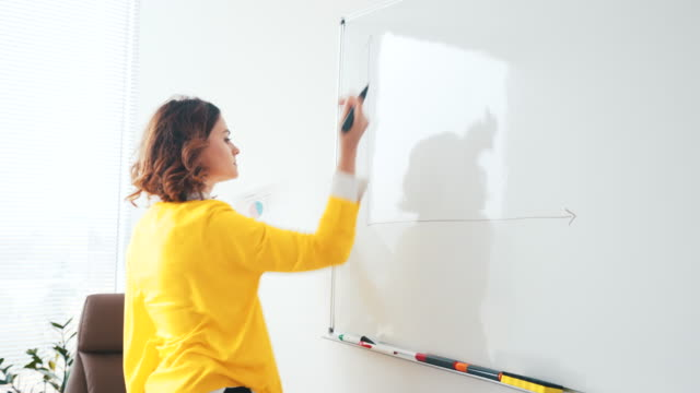 Analyzing business efficiency. Young businesswoman analyzing business efficiency creating a graph on whiteboard. whiteboard visual aid stock videos & royalty-free footage
