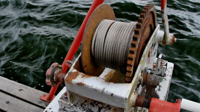 Anchor windlass mechanism with chain on ship deck video