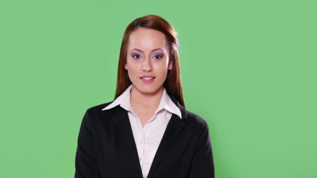 4K Anchorwoman on green background video