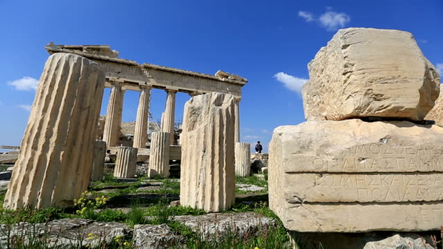 Ancient Acropolis in Athens Greece Ancient Acropolis in Athens Greece architectural column stock videos & royalty-free footage