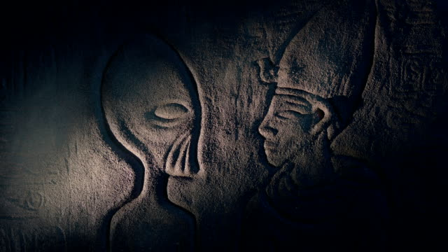 Ancient Aliens Wall Art In Ancient Tomb