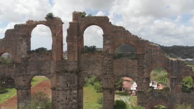 ancient aqueduct in antalya, turkey - greek architecture stock videos & royalty-free footage