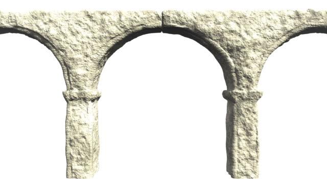 ancient aqueduct loopable - ancient white background bildbanksvideor och videomaterial från bakom kulisserna