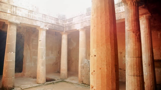 ancient archaeological site with stone columns in europe - tempio video stock e b–roll